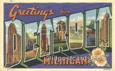 LLT201658 - Detroit, Michigan USA Large Letter Town Vintage Postcard Old Post Card Antique Postales, Cartes, Kartpostal
