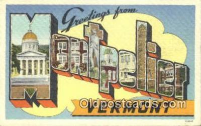LLT201666 - Montpelier, Vermont USA Large Letter Town Vintage Postcard Old Post Card Antique Postales, Cartes, Kartpostal