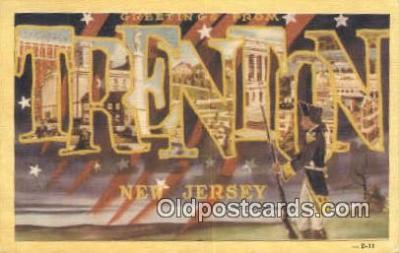 LLT201686 - Trenton, New Jersey USA Large Letter Town Vintage Postcard Old Post Card Antique Postales, Cartes, Kartpostal