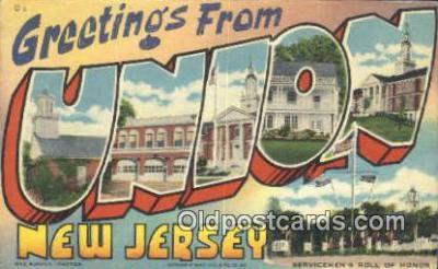 LLT201687 - Union, New Jersey USA Large Letter Town Vintage Postcard Old Post Card Antique Postales, Cartes, Kartpostal