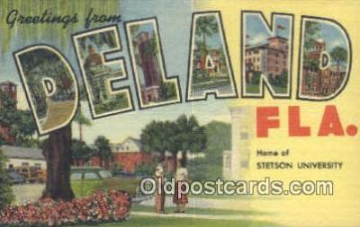 LLT201701 - Deland, Fla USA Large Letter Town Vintage Postcard Old Post Card Antique Postales, Cartes, Kartpostal