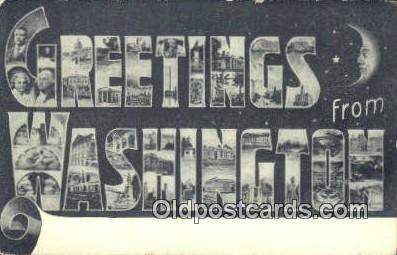 LLT201718 - Washington USA Large Letter Town Vintage Postcard Old Post Card Antique Postales, Cartes, Kartpostal