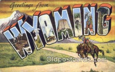 LLT201723 - Wyoming USA Large Letter Town Vintage Postcard Old Post Card Antique Postales, Cartes, Kartpostal