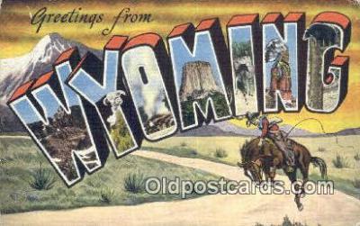 LLT201724 - Wyoming USA Large Letter Town Vintage Postcard Old Post Card Antique Postales, Cartes, Kartpostal