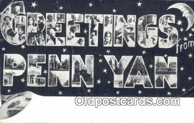 LLT201732 - Penn Yan USA Large Letter Town Vintage Postcard Old Post Card Antique Postales, Cartes, Kartpostal