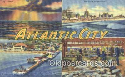 LLT201749 - Atlantic City USA Large Letter Town Vintage Postcard Old Post Card Antique Postales, Cartes, Kartpostal