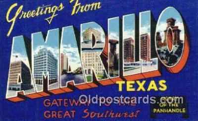 LLT201757 - Amarillo, Texas USA Large Letter Town Vintage Postcard Old Post Card Antique Postales, Cartes, Kartpostal