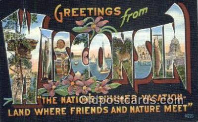 LLT201789 - Wisconsin USA Large Letter Town Vintage Postcard Old Post Card Antique Postales, Cartes, Kartpostal