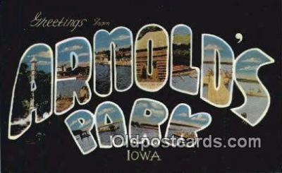 LLT201809 - Arnold's Park, Iowa USA Large Letter Town Vintage Postcard Old Post Card Antique Postales, Cartes, Kartpostal