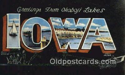 LLT201810 - Iowa USA Large Letter Town Vintage Postcard Old Post Card Antique Postales, Cartes, Kartpostal