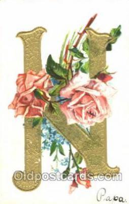 let001090 - N Old Vintage Antique Postcard Post Card