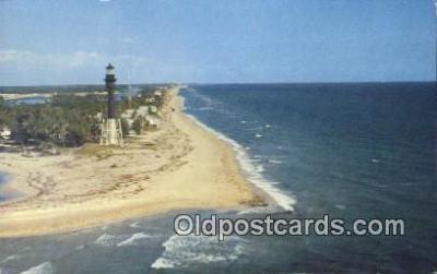 lgh200107 - Hillsboro Light & Mile Hillsboro, FL, USA Postcard Post Cards Old Vintage Antique