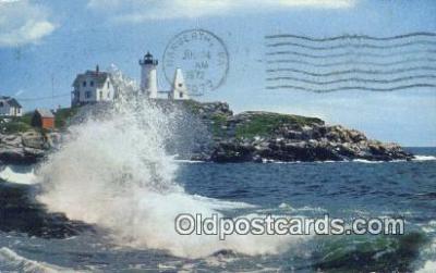 lgh200116 - High Suf, Nubble Light York, ME, USA Postcard Post Cards Old Vintage Antique
