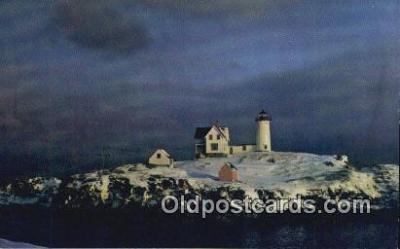 lgh200225 - Nubble Lighthouse York Beach, ME, USA Postcard Post Cards Old Vintage Antique