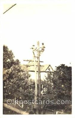 lin001005 - Utility Pole Workers, Telephone, Electric, Elecrical Linemen, Real Photo Postcard Postcards