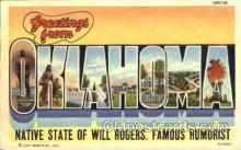 LLS001204 - Large Letter States, Greetings From Oklahoma Postcard Postcards