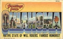 LLS001208 - Large Letter States, Greetings From Oklahoma Postcard Postcards