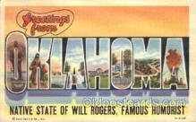 LLS001269 - Oklahoma, USA Large Letter State States Postcard Postcards