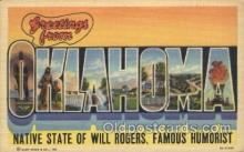LLS001298 - Oklahoma, USA Large Letter State States Postcard Postcards