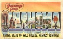 LLS001315 - Oklahoma, USA Large Letter State States Postcard Postcards