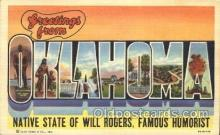 LLS001322 - Oklahoma, USA Large Letter State States Postcard Postcards