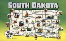 LLS001862 - South Dakota USA Large Letter States, Old Vintage Antique Postcard Post Cards