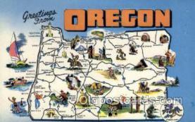 LLS001865 - Oregon USA Large Letter States, Old Vintage Antique Postcard Post Cards