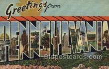 LLS001868 - Pennsylvania USA Large Letter States, Old Vintage Antique Postcard Post Cards