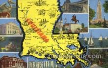 LLS001886 - Louisiana USA Large Letter States, Old Vintage Antique Postcard Post Cards