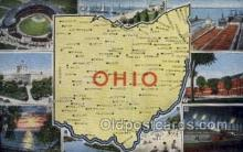 LLS001887 - Ohio USA Large Letter States, Old Vintage Antique Postcard Post Cards