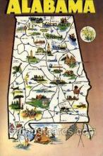 LLS001892 - Alabama USA Large Letter States, Old Vintage Antique Postcard Post Cards