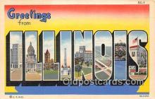 LLS100104 - Linen Illinois, USA Postcard Post Cards