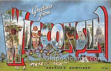 LLS100113 - Linen Wisconsin, USA Postcard Post Cards
