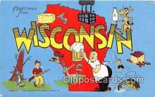 LLS100115 - Linen Wisconsin, USA Postcard Post Cards