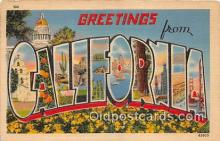 LLS100119 - Linen California, USA Postcard Post Cards