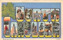 LLS100124 - Linen North Carolina, USA Postcard Post Cards