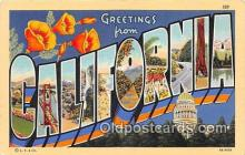 LLS100127 - Linen California, USA Postcard Post Cards