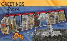LLS100130 - Linen California, USA Postcard Post Cards
