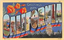 LLS100141 - Linen California, USA Postcard Post Cards