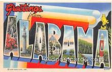 LLS100229 - Linen Alabama, USA Postcard Post Cards