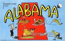 LLS100232 - Linen Alabama, USA Postcard Post Cards