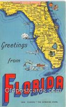 LLS100238 - Linen Florida, USA Postcard Post Cards