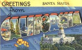 LLT001238 - Santa Maria, Cal. USA Large Letter Town Postcard Postcards