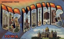 LLT001271 - Des Moines, Iowa Large Letter Town Towns Post Cards Postcards