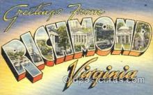 LLT001347 - Greetings From Richmond, Virginia, USA Large Letter Town Towns Postcard Postcards