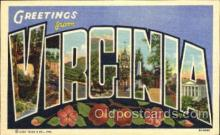 LLT001349 - Greetings From Virginia,  USA Large Letter Town Towns Postcard Postcards