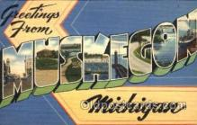 LLT001351 - Greetings From Muskegon, Michigan, USA Large Letter Town Towns Postcard Postcards
