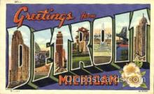 LLT001352 - Greetings From Detroit, Michigan, USA Large Letter Town Towns Postcard Postcards
