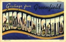 LLT001354 - Greetings From Greenfield, Massachusetts, USA Large Letter Town Towns Postcard Postcards