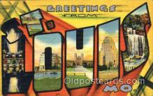 LLT001356 - Greetings From St. Louis, Missouri, USA Large Letter Town Towns Postcard Postcards
